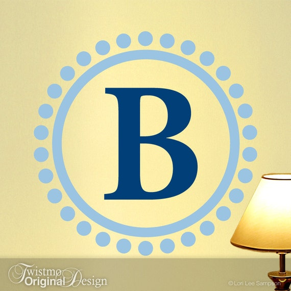 Two Color Monogram Vinyl Wall Art Decal Custom Family Name