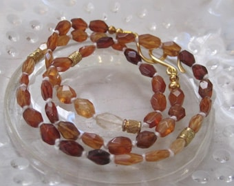 Genuine Hessonite Garnet Gemstone Necklace