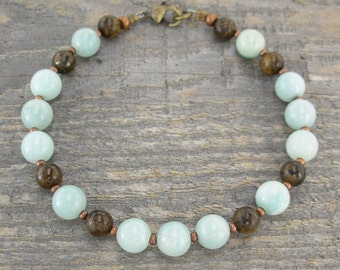 Amazonite Pale Blue Gemstone Bracelet with Bronzite and Copper Accents, 7.5 -10 Inches, Small to Plus Size