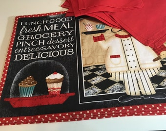 Placemats with napkins set of 4 with Apron