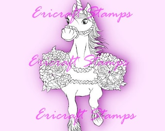 Digital Stamp- Spring Unicorn - PNG image for cards and crafts by Erica Bruton