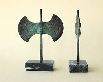 Bronze Double Axe, Greek Minoan Sculpture, Metal Art Sculpture, Museum Quality Art, Bronze Greek Art, Ancient Greece, Greek Mythology,