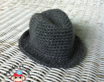 Crochet Pattern Newborn Little Gentleman Fedora