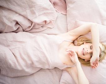Linen night dress - linen nightgown, stonewashed softened linen slip dress, pink