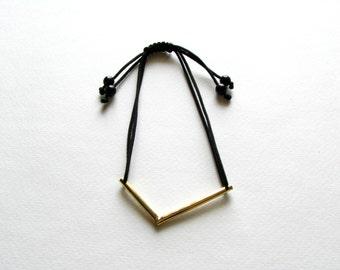 Gold V Bracelet-Minimalist Bracelet-V Bracelet-Gold Geometric Bracelet-Brass Bracelet-Handcrafted Jewellery-Minimalist Jewelry