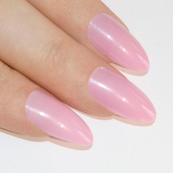 Bling Art Stiletto False Nails Fake Acrylic Pink Natural Full Cover ...