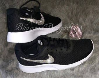 Swarovski Bling Nike Tanjun Women's Nike Shoes Black White Customiz with Swarovski Crystal Rhinestones