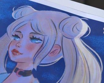 usagi print, sailor moon print,selena print, harajuku girl print, serena print, moon print