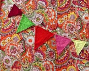 "pdf quilt blanket pattern  ""Celebration"" with hanging pennant banner"