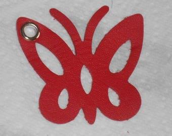 2 grandes breloques pendentifs papillon rouge en simili cuir 5 cm