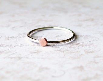 Sterling Silver Dot ring, Silver dot ring, circle ring, tiny dot ring, dot stacking ring, dot knuckle ring, two tone dot ring