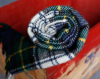 Brooks Brothers vintage wool plaid throw blanket - blue green white yellow plaid vintage / made in scotland scottish
