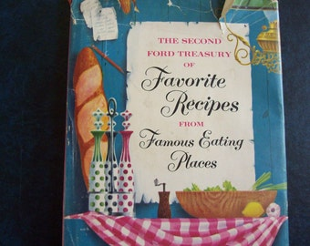 cookbook, The Second Ford Treasury of Favorite Recipes, watercolour pictures