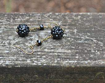 Black Glitter Ball Earrings sparkling black dangle earrings with Czech glass beads and lucite beads handmade gift