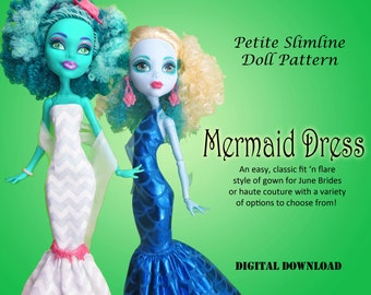 Mermaid Wedding Dress Doll Clothes PDF Sewing Pattern for Petite Slimline girls: High, Ever After, Monster, Dal, obitsu, Super Hero