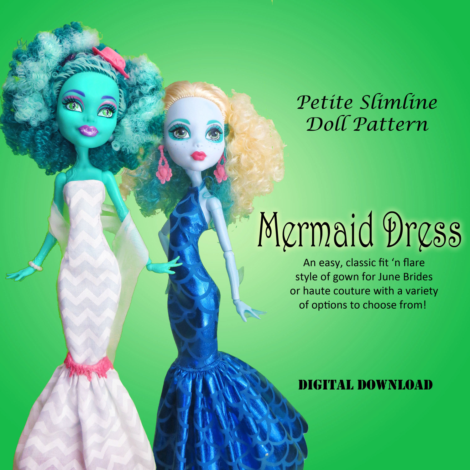 Mermaid wedding dress doll clothes pdf sewing pattern for zoom jeuxipadfo Gallery