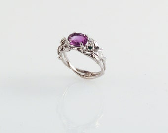 Amethyst Silver Ring - with conflict free emeralds