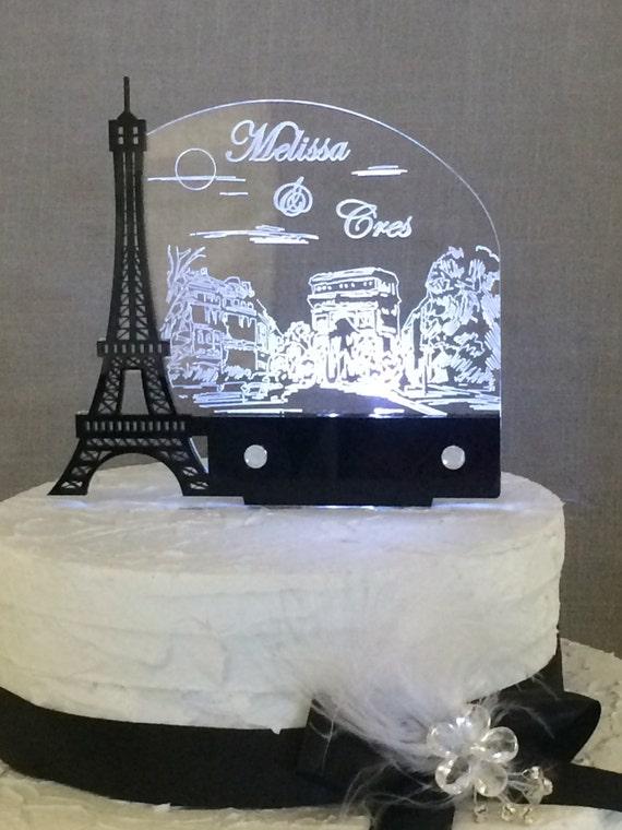 Paris Romantic Black Eiffel Tower Personalized Wedding Cake