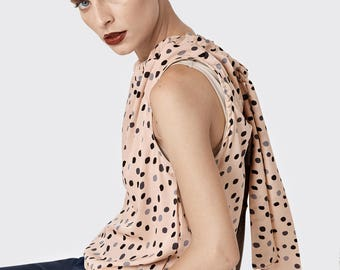 NEW summer 2017 - Beige Dotted viscose blouse with tying - blue polka dots loose blouse - nude sleeveless top - summer dotted shirt