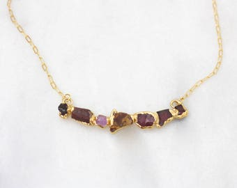 raw ruby necklace | rough garnet necklace | pink spinel necklace | ruby pendant | july birthstone pendant | january birthstone pendant