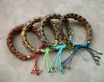 Snake Vertebrae-Woven-Mix Color-Bracelet  / Free US Shipping