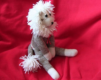 Sock Monkey Toy Lion Plush Stuffed Animal Doll - Rockford Red Heel Socks