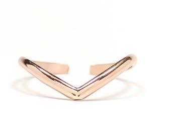 Rose Gold Midi Ring, Chevron 14K Rose Gold Filled Mid Ring, Adjustable Midi Ring, Chevron Midi Ring, Rose Gold Knuckle Ring, Gold Midi Ring