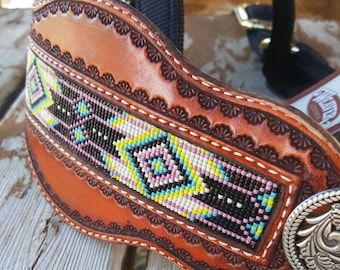 Halter with Hand Beaded Noseband