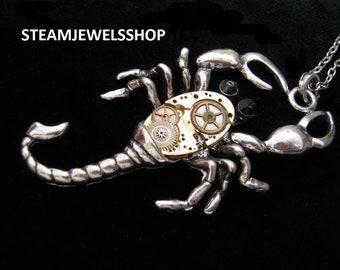 scorpion watch méchanism necklace  scorpio A535