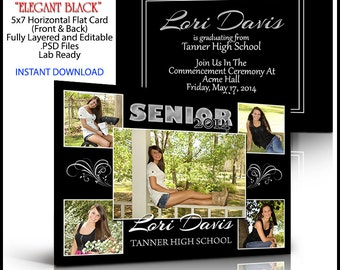 2018 Senior Invitation 5x7 Flat Card Photoshop Template ELEGANT BLACK. Graduation ceremony announcement for party invite. Print anywhere.