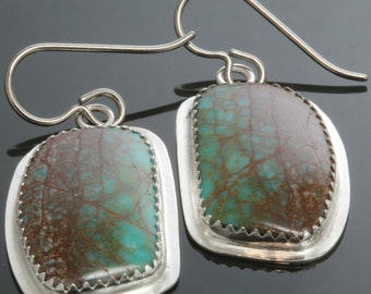 CLEARANCE. Genuine Turquoise Earrings. Sterling Silver Settings. Titanium Ear Wires. One of a Kind. Gift for Her. f13e100