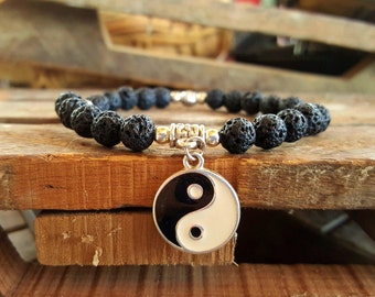 Yin Yang Volcanic Healing Bead Bracelet