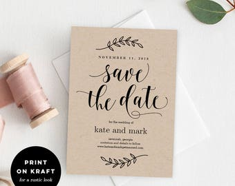 Printable Save The Date Template - Rustic Wedding Save The Date Card - Instant Download - Rustic Elegance #REC