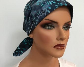 Sandra Women's Surgical Scrub Cap, Cancer Hat, Chemo Head Scarf, Alopecia Head Wrap, Headwear, Cancer Gift, Hair Loss Blue Stars