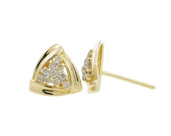 Ladies Vintage Estate 14K Yellow Gold Diamond Cluster Trillion-Shaped Triangle Earrings