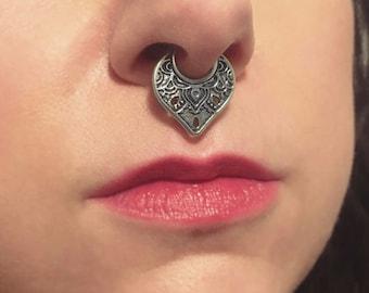 Ornate Septum Ring, Tribal Septum Hoop, Sterling Silver Septum Piercing, Septum Hoop, Bohemian Septum Hoop, Lacy Septum Ring, Exotic Jewelry