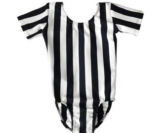 Ballet, Dance & Gymanstic Black White Striped Leotard For Girls/Kids/Toddler
