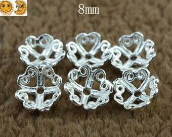 925 Sterling Silver bead caps,end caps,filigree findings,12 pcs,8mm