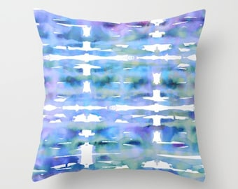 Decorative throw pillow for couch, watercolor tie dye style sofa cushion in blue and purple tones