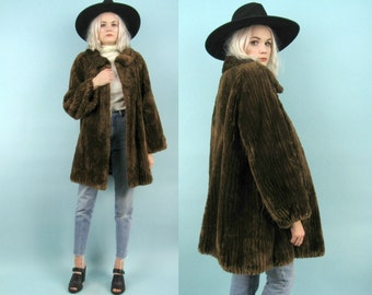60s Rare NORELL Brown Fur Coat, Vintage NORMAN NORELL, Beaver Fur, 60s Couture, Designer, Size Large, Oversized, Swing Coat, Mod, 70s