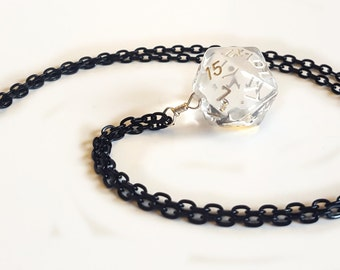 Dice Pendant Necklace - Crystal Clear D20 Twenty Sided Dice Jewelry - Geeky Gamer Jewelry