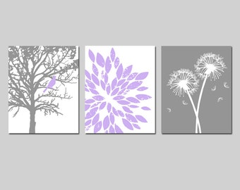 Lavender Purple Gray Baby Girl Nursery Art Trio - Bird in a Tree, Abstract Floral, Dandelions - Set Three 11x14 Prints - Choose Your Colors