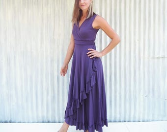 Organic Cotton Maxi Wrap Dress with Line Bodice and Ruffled Hem - Custom Made in the USA - 25 Colors to Choose From