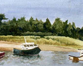 Boats on Scituate Harbor; a watercolor painting