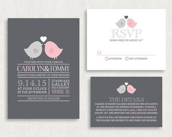 Wedding Invitation and RSVP Card (Birds of a Feather) - Digital File, PDF, DIY, Printable, Printed, Love Birds, Country, Pink, Gray, Tree