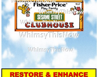 Vintage Fisher Price Little People Replacement Litho Sticker Decal 937 Sesame Street Clubhouse
