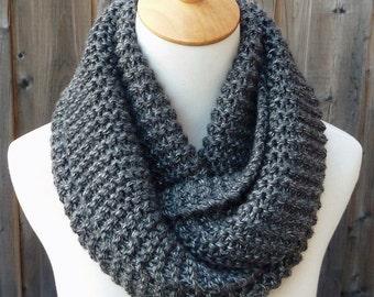 Charcoal Gray Infinity Scarf -Dark  Gray Infinity Scarf - Chunky Knit Scarf - Circle Scarf - Ready to Ship