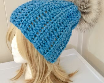 READY TO SHIP Chunky Crochet Hat with Faux Fur Pom Pom - Cobalt Blue, Denim Blue - Wool Blend - Women's / Teens