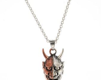 Two Tone Hannya Mask Pendant Necklace