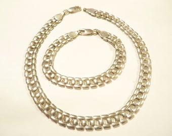 Beautiful Sterling Silver Choker / Bracelet Jewelry Set